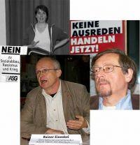 von links: Christine Buchholz, Rainer Einenkel, Peter Wahl, Anke Benecke (ohne Foto)